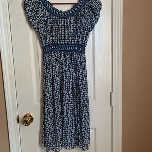 Off the shoulder blue white flowy dress